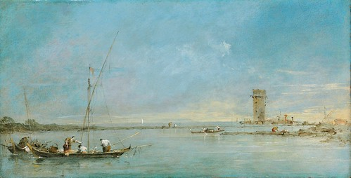 Francesco Guardi - View of the Venetian Lagoon with the Tower of Malghera [c.1770s] by Gandalf's Gallery