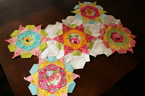 rose star quilt wip 2