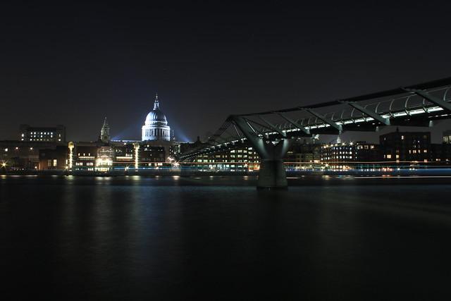 View of St Paul's and Millennium Bridge taken at 19:16