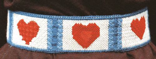 vintage needlepoint heart belt