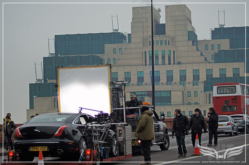 The Establishing Shot: Skyfall Vauxhall Bridge - Judi Dench & Rory Kinnear in M's Jaguar XJL Interior Shots crossing Bridge towards MI6