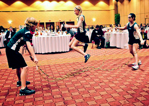 Students from Frisco Independent School District jump rope at a fitness demonstration during lunch at the GRITS summit.