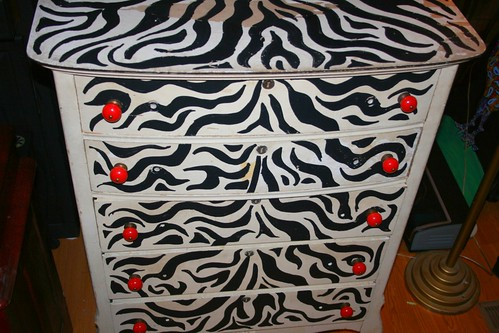 5 Drawer Dresser - Distressed w/Zebra Pattern and New Knobs by Rick Cheadle Art and Designs