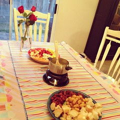 Romantic Valentines Fondue w/ my 3 mini Valentines :) Wish you were here Daddy