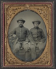 [Private Charles Chapman of Company A, 10th Virginia Cavalry Regiment, left, and unidentified soldier] (LOC)