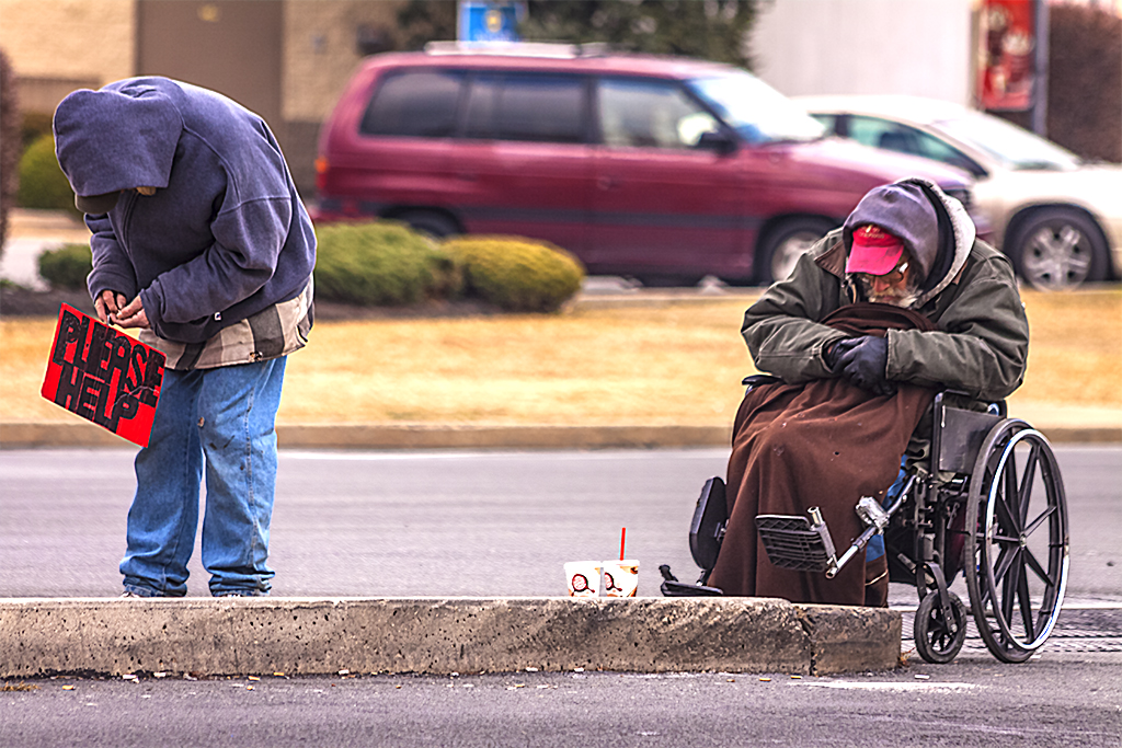Two-men-begging-on-Delaware-Avenue-on-2-15-12--Pennsport