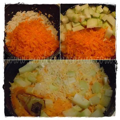 Agregando la verdura, agua y cociendo