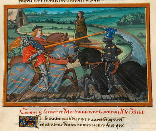 004-Corazon se enfrenta al caballero Cuidado en el puente del Paso Peligroso-detalle-fol. 19-Le livre du Coeur d'amour épris, par le roi René d'Anjou-