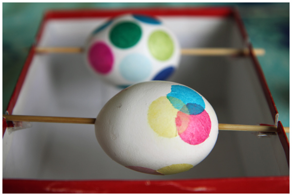 Tissue paper circles decoupage Easter eggs