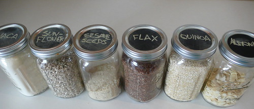 Chalkboard stickers for my jars of grain, seeds and nuts