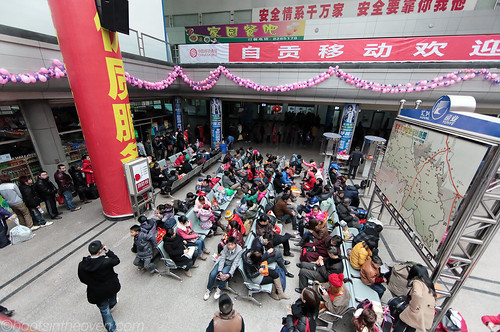 The Line for Chengdu-Bound Buses at the Zigong Bus Station