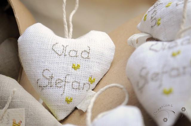 inimioare cu flori de lavanda ( marturii de botez personalizate ) - baby shower favors