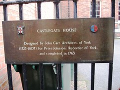 Photo of John Carr, Peter Johnson, and Castlegate House bronze plaque