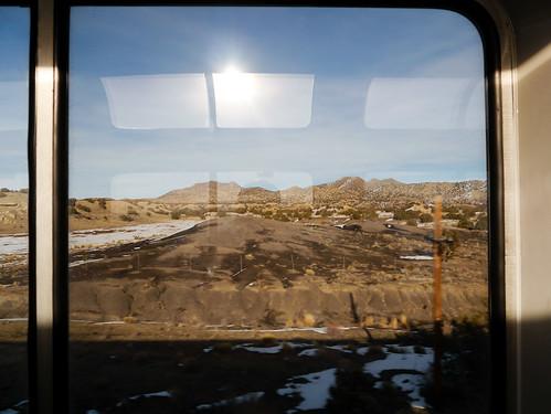 statepark usa 3 newmexico train amtrak loungecar southwestchief superliner santafecounty cerrilloshills