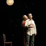 """Carol's friend Joan (Johanna Day) and Carol's husband Lesley (Tim Ransom) share an intimate moment in the Huntington Theatre Company's World Premiere of Stephen Belber's """"Carol Mulroney"""" directed by Lisa Peterson at the Calderwood Pavilion. Part of the 2005-2006 season. Photo: T. Charles Erickson."""