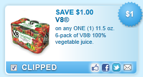 V8 100% Vegetable Juice, 11.5 Oz. 6-pack Coupon