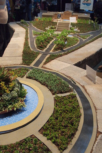 model of downtown Philadelphia with xerophytic landscaping - great!