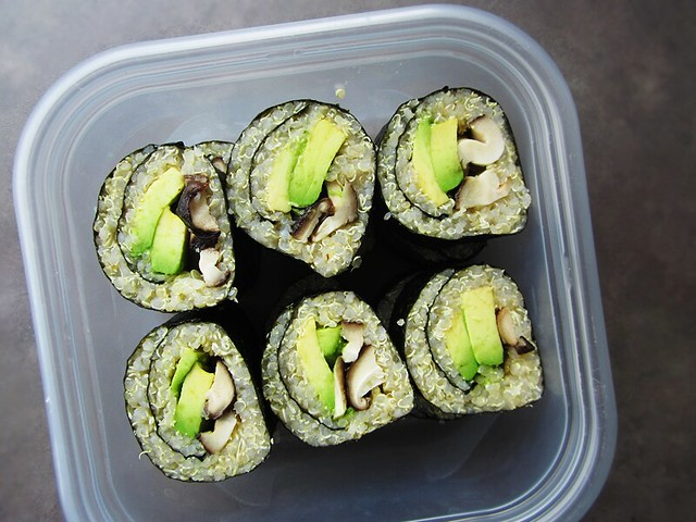 avocado and mushroom quinoa sushi