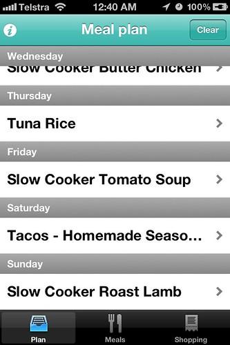 Menu Planner App - menu plan