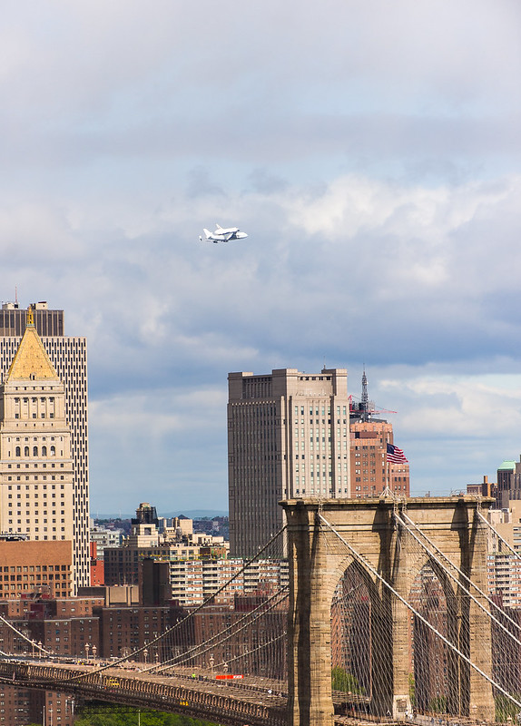 Enterprise Arrives Over NYC and the Brooklyn Bridge
