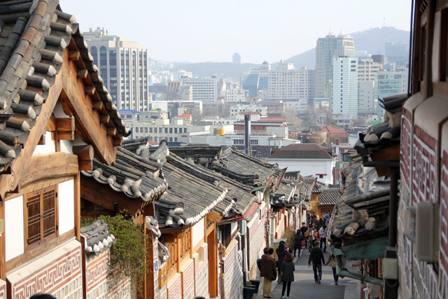 View of the Bukchon Hanok Village in Seoul