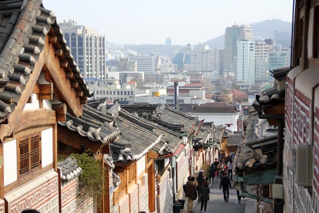View of the Bukchon Hanok Village in Seoul