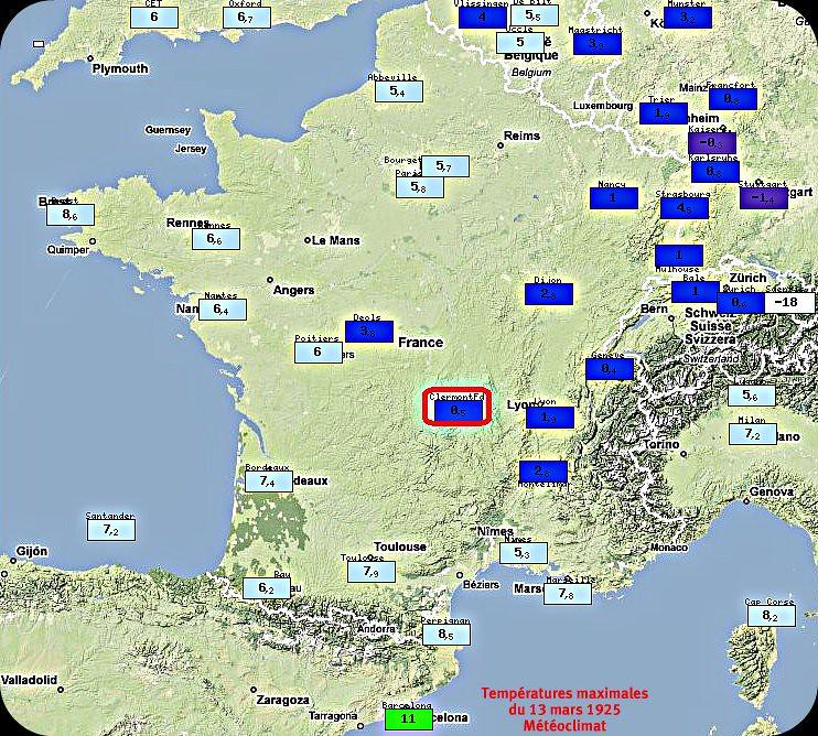 températures maximales froides du 13 mars 1925 météopassion