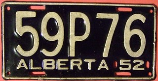 "ALBERTA 1952 passenger plate, large ""P"" in the third position"