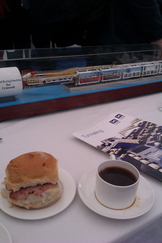 Bacon Roll & Tea & Crossrail model