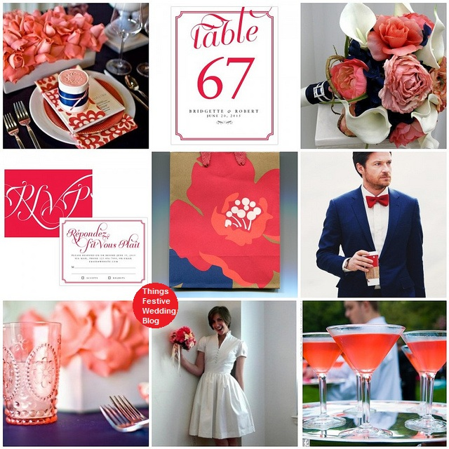 This navy red and coral wedding theme is ideal for a couple seeking a