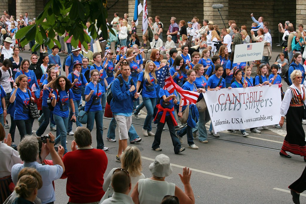 Cantabile Youth Singers march in the Estonia Song Festival Parade in Tallinn
