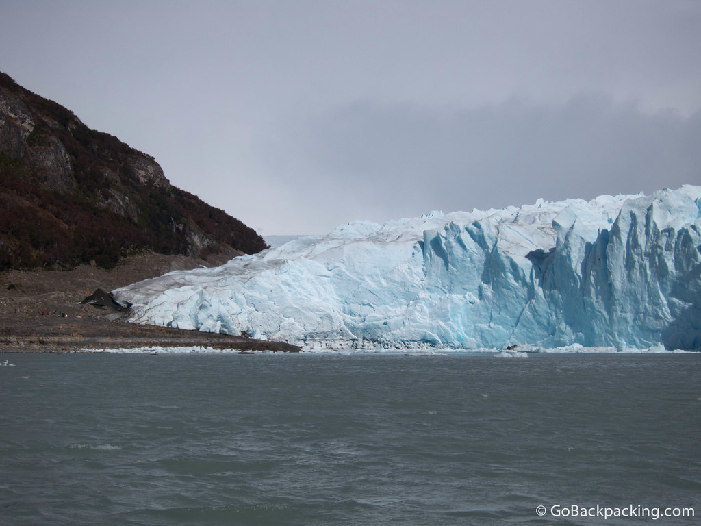 To get a sense of scale, look at the hikers approaching the glacier to the far left