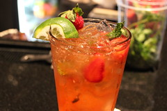 mojito(0.0), food(0.0), caipiroska(1.0), strawberry(1.0), distilled beverage(1.0), bloody mary(1.0), produce(1.0), limeade(1.0), negroni(1.0), drink(1.0), cocktail(1.0), singapore sling(1.0), mai tai(1.0), alcoholic beverage(1.0),