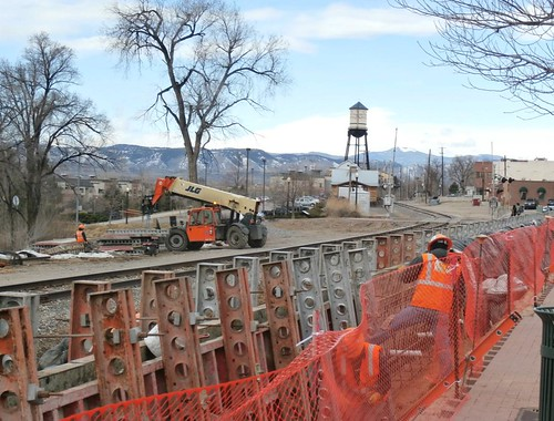 Photo of retaining wall construction in Olde Town Arvada March 17, 2014