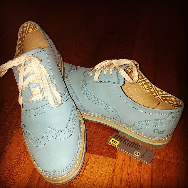 Caterpillar rubber souled oxfords. These are more turquoise than they appear