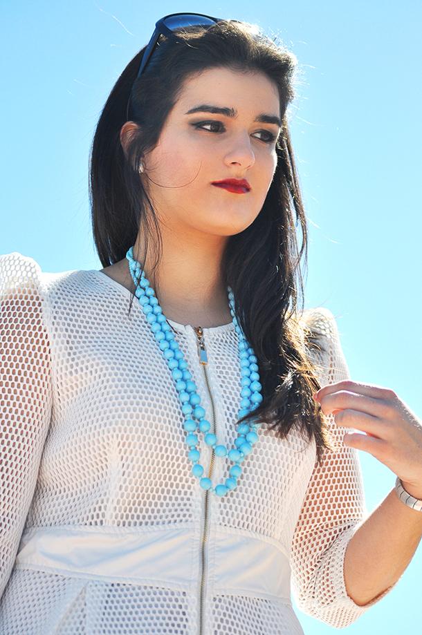 net fabric white dress fashion, something fashion blog valencia amanda r., oropesa del mar spain faro, fblogger gloria ortiz vintage rayban