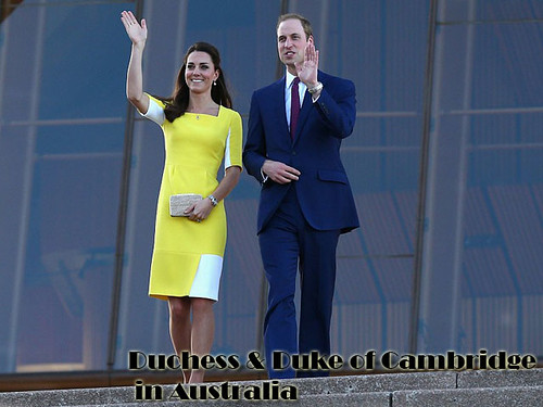 Duchess & Duke of Cambridge in sunshine-yellow textured dress & blue suit
