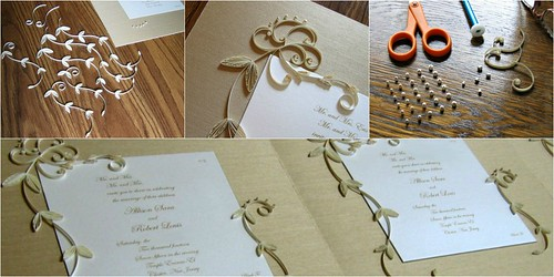 Quilled wedding invitations - in progress