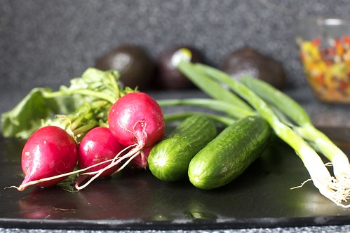 radishes, cucumbers, scallions