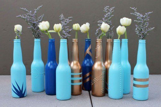 Beer bottles with flowers can be a perfect decoration for your living room