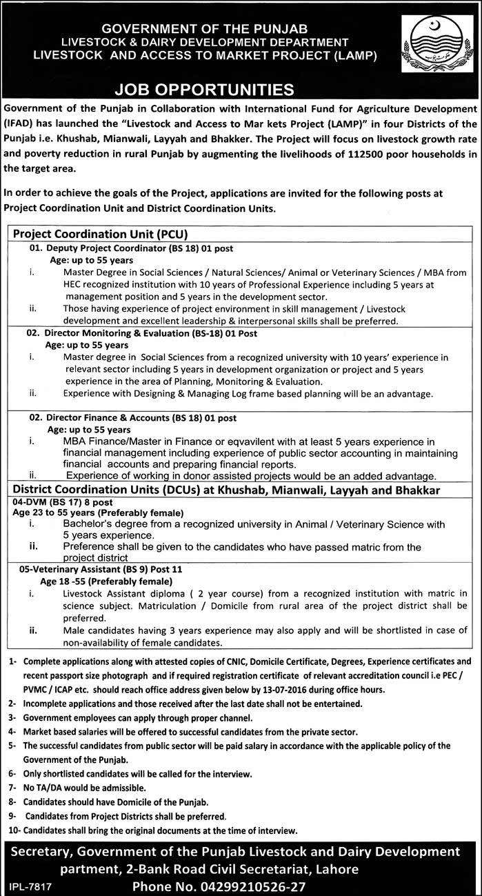 Government of Punjab Livestock and Dairy Development Department Jobs