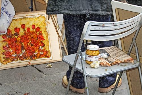 artistas en la plaza mayor