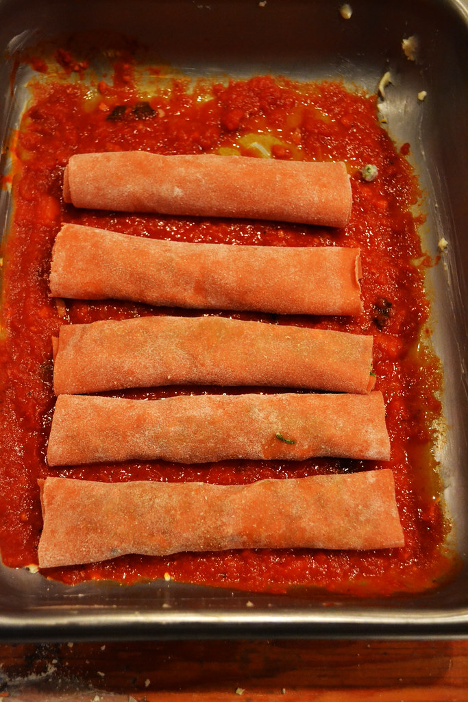Veal & Spinach Cannelloni with Tomato Pasta Dough