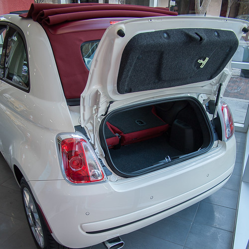 White Fiat 500 Boot Open