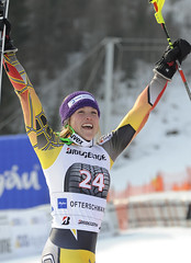 Erin Mielzynski celebrates her World Cup win in Ofterschwang, Germany.