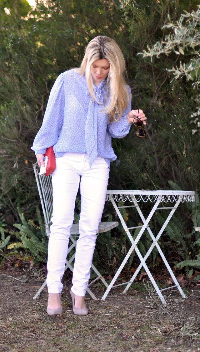 white pants and blue blouse-outfit