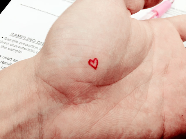 heart shape on hand