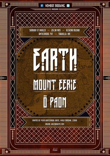 Cartel de Earth, Mount Eerie y Ö Paon, en la sala Azkena de Bilbao, el 17 de Marzo de 2012