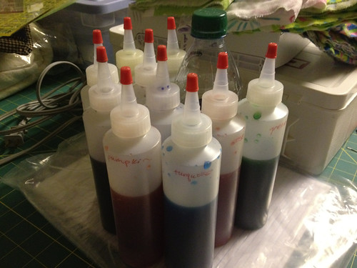 Colorhue Dyes diluted and ready to use