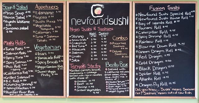 Newfound Sushi - Menu Board
